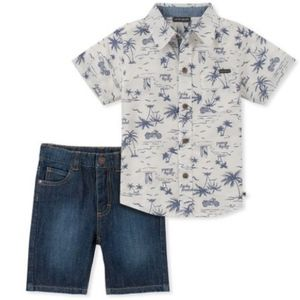 LUCKY Brand White Tropical Button Up & Jean Shorts